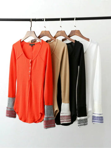 Cuff Decorative Buttons Knit Irregular Slim T-shirts