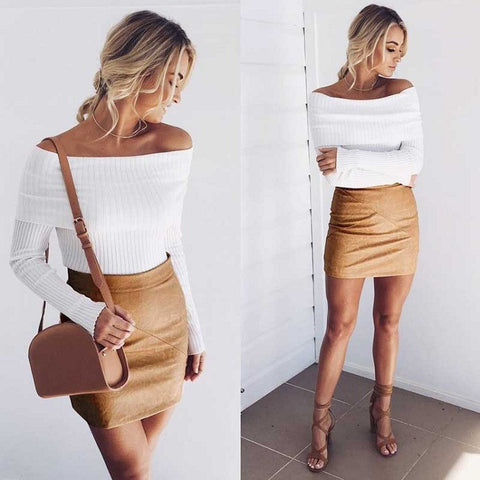 Sexy Off Shoulder Slim Ribbed Long Sleeve Knit Sweater
