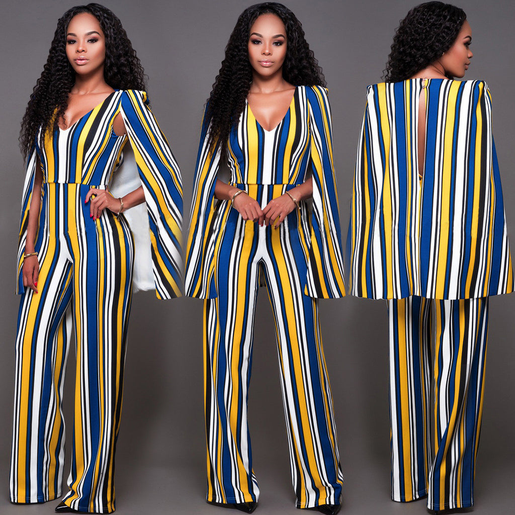 51bce649424 Sexy Hollow Out Back Wide Leg Cloak Jumpsuit – MeetYoursFashion