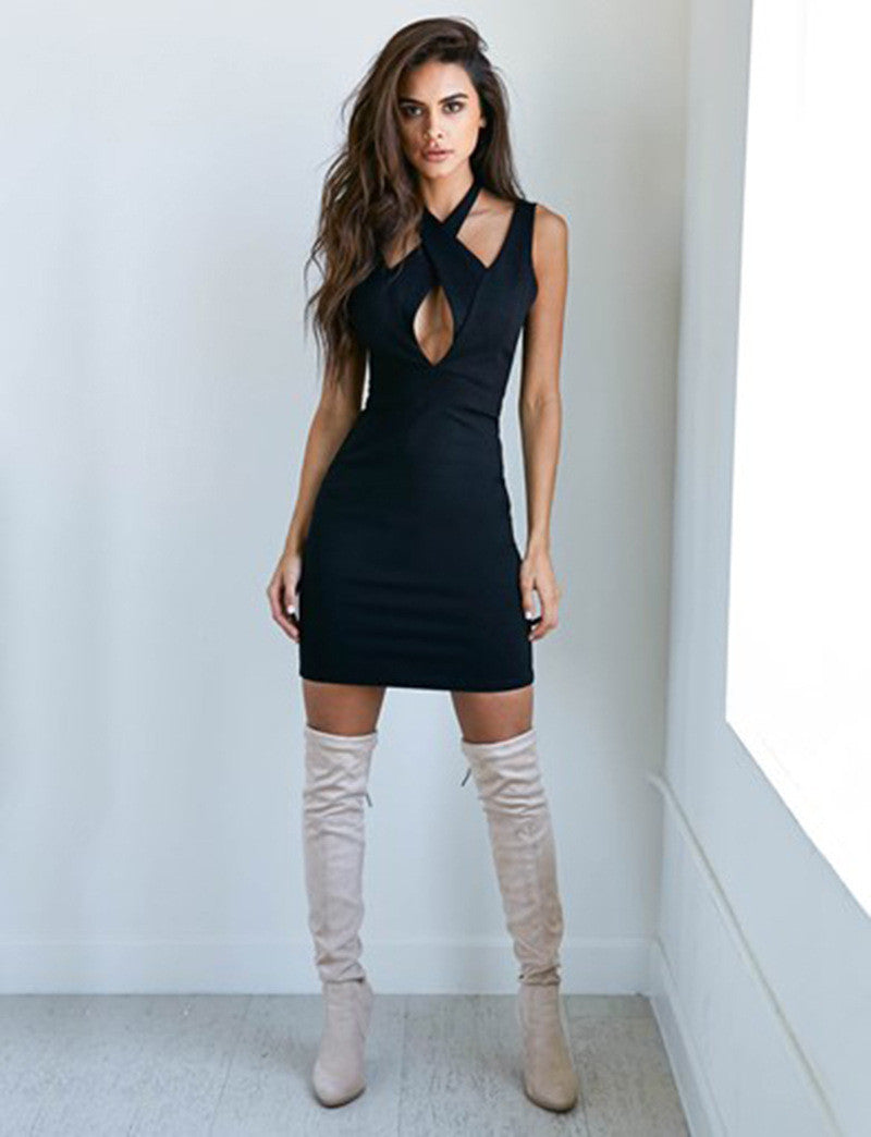 Sexy Cross Black Short Backless Bodycon Dress