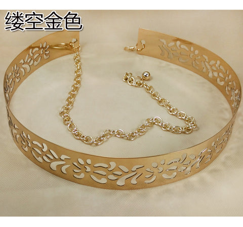 Golden Wide Plate Metal Waist Belt Mirror Waistband