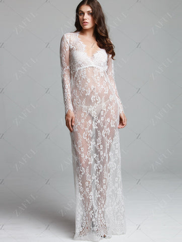 Deep V-neck Perspective Long Sleeve Lace Long Dress