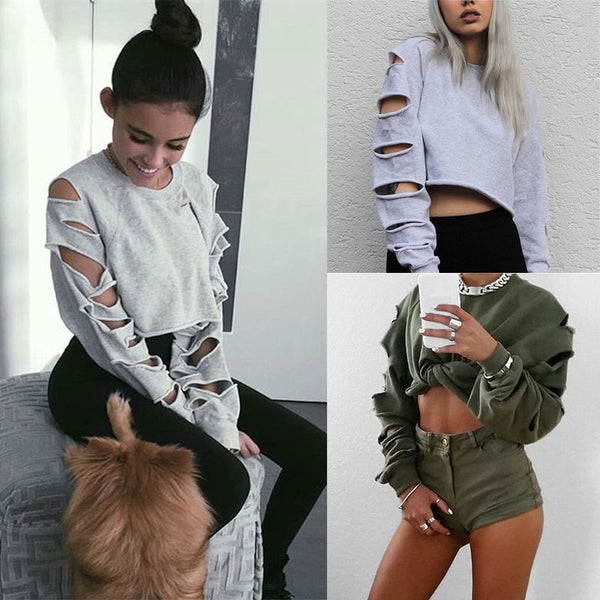 Cut Out Edge Holes Pure Color Crop Top Hoodie