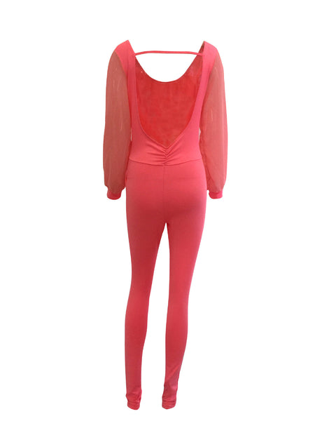Backless Split Long Sleeve Pure Color Long Jumpsuit