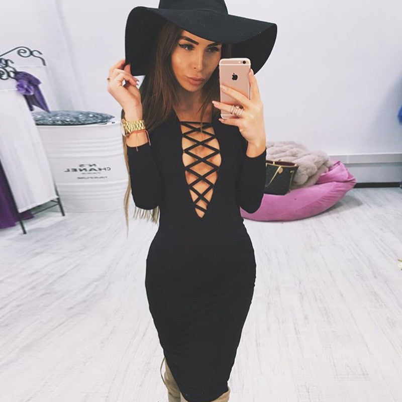 Hollow Out Criss Cross V Neck Long Sleeve Bodycon Dress