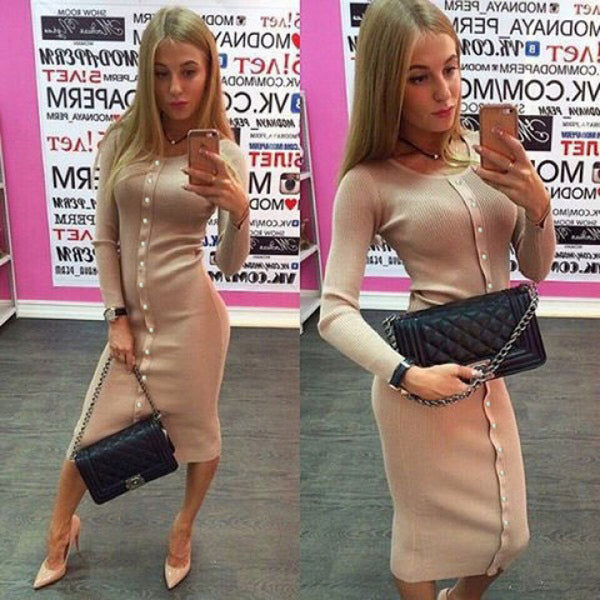 Fashion Button Decorate Long Sleeve Pure Color Long Knit Dress