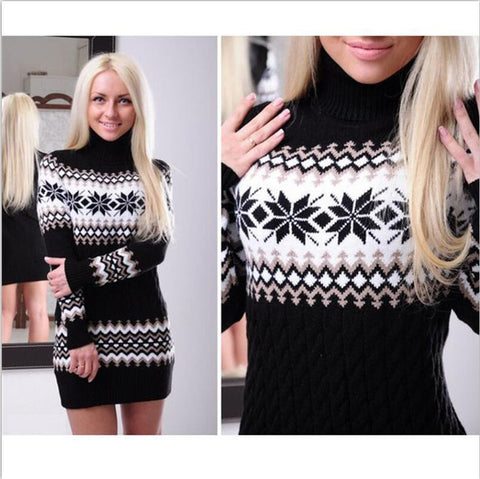 Fashion Long Sleeve High Neck Print Short Knit Dress