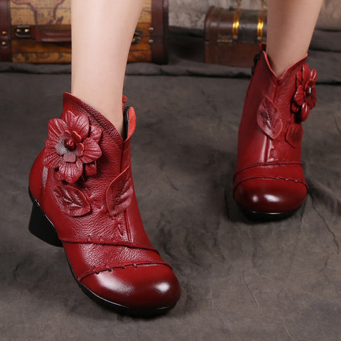 Warm Flower Retro Hand Made Real Leather Low Chunky Heel Ankle Boots