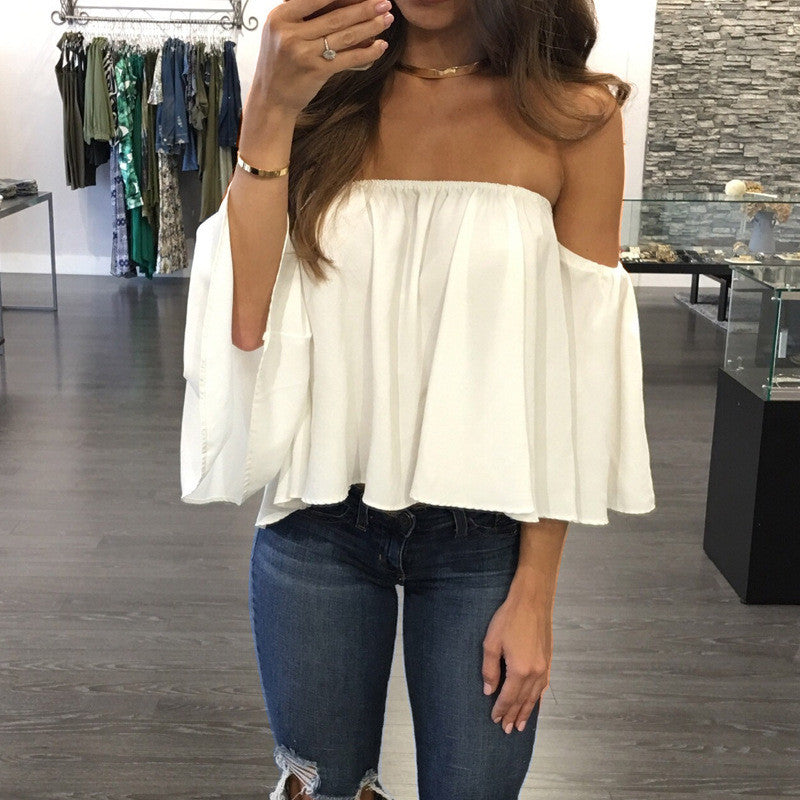 sexy off shoulder long sleeve chiffon loose blouse. Black Bedroom Furniture Sets. Home Design Ideas