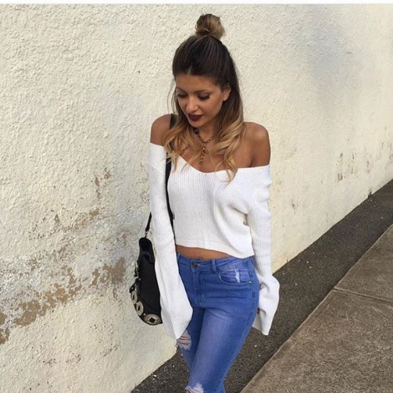 Sexy White Long Sleeve Crop Top Sweater