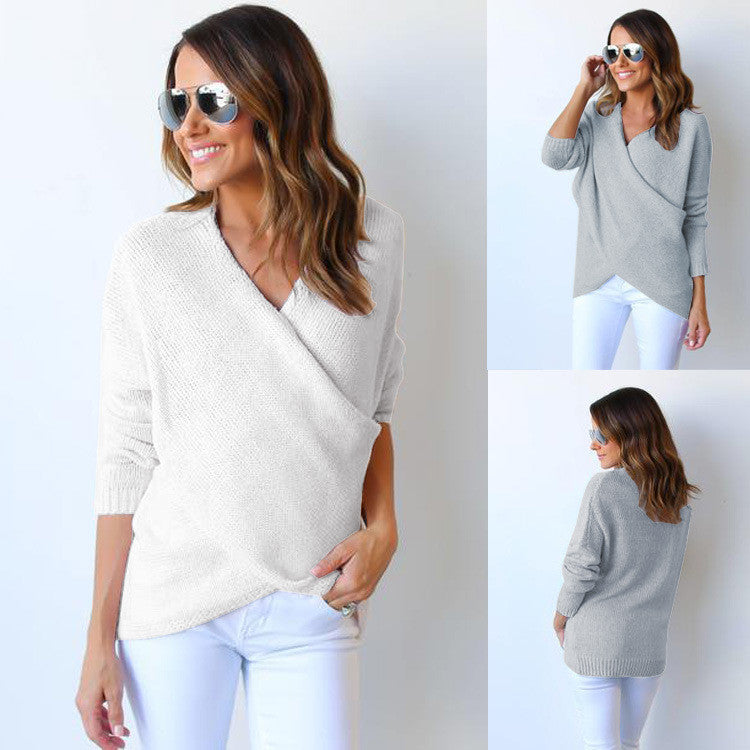 Fashion Wrap Pure Color Long Sleeve Sweater