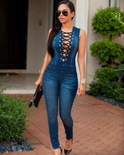 Denim Blue Deep V-neck Lace Up Sleeveless Long Jumpsuit