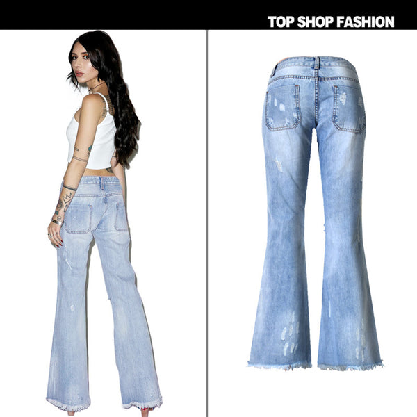Middle Waist Cut Out Knee Hole Bell-bottomed Loose 9/10 Jeans