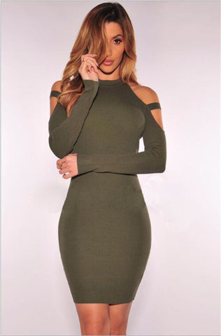 Scoop Cold Shoulder Long Sleeves Solid Short Club Dress