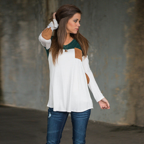 Fashion Contrast Color Long-Sleeve Round Neck Blouse