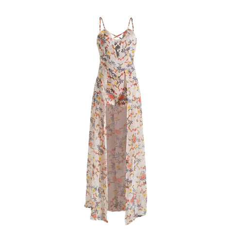 Sexy Chiffon Spaghetti Strap Print Irregular Long Dress