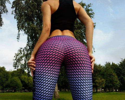 Low Waist Mesh Print Elastic Long Slim Leggings