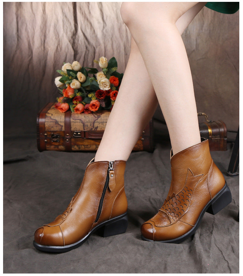 Hand Made Real Leather Side Zipper Low Wedge Heel Ankle Boots