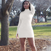 Sexy Long Sleeve Turtleneck Plain Bodycon Dress