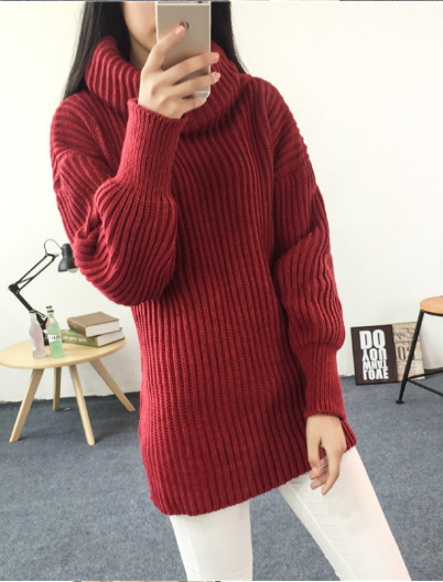 Sleeve High Shawl Collar Pullover Solid Color Sweater - Meet Yours Fashion - 2