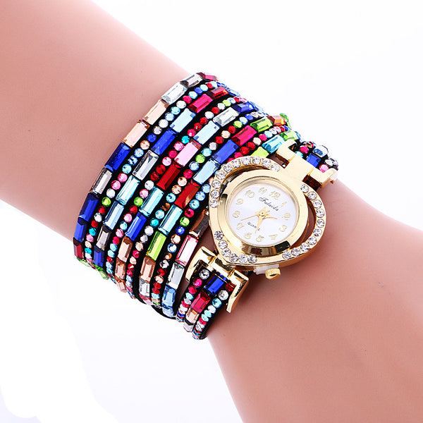 Color Crystal Heart Watch
