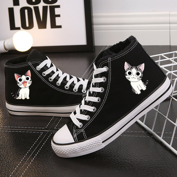 Fashion High Top Cartoon Print Fur Sneakers