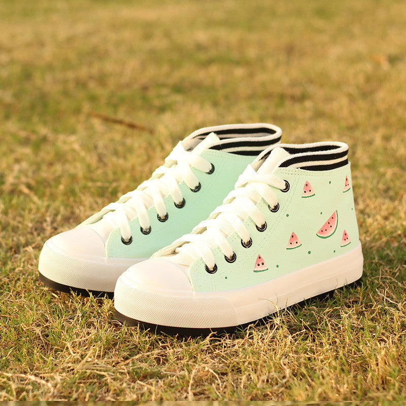Cute Cartoon Print Thick Bottom Sneakers
