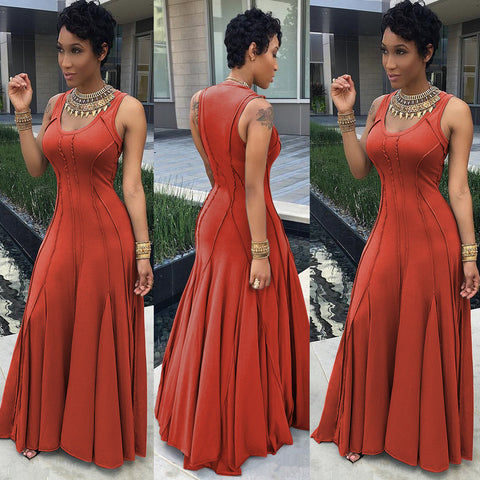 Scoop Sleeveless Solid High-waist Pleated Long Dress