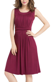 Fashion Crumple Sleeveless Scoop High Waist Knee-Length Dress