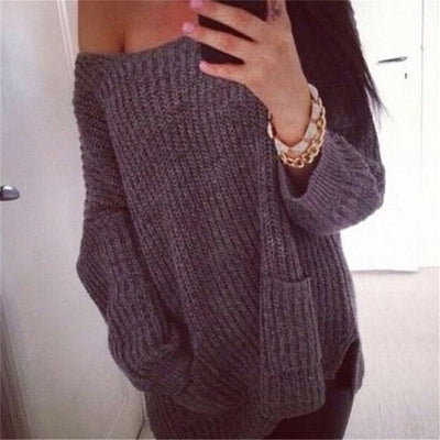 Fashion Casual Chunky Knit Loose One Shoulder Pockets Sweater