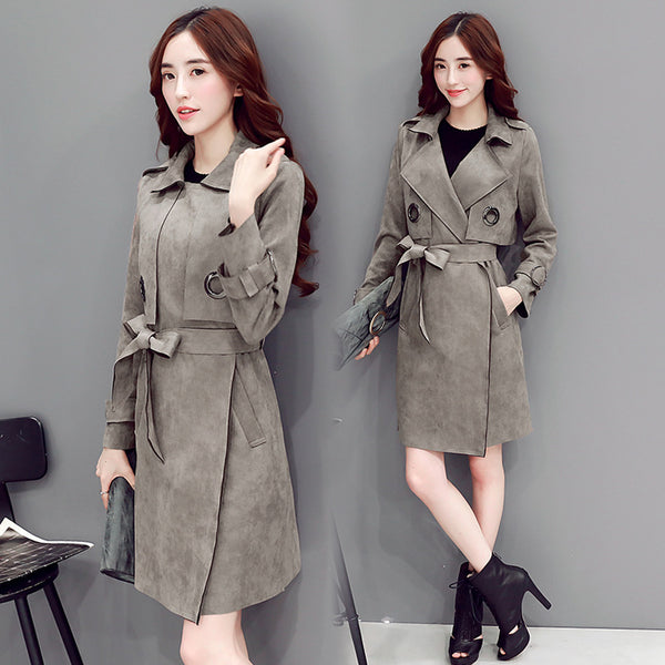 Suede Lapel Solid Color Strap Belt Long Coat