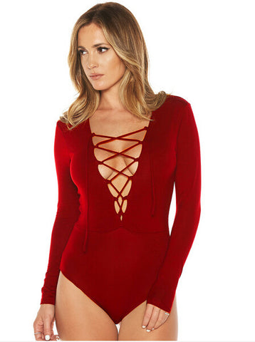 Deep V-neck Lace Up Long Sleeve Triangle Romper