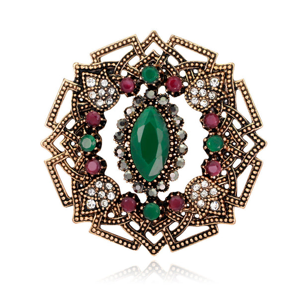 Retro Elegant Flowers Diamond Bohemian Brooch