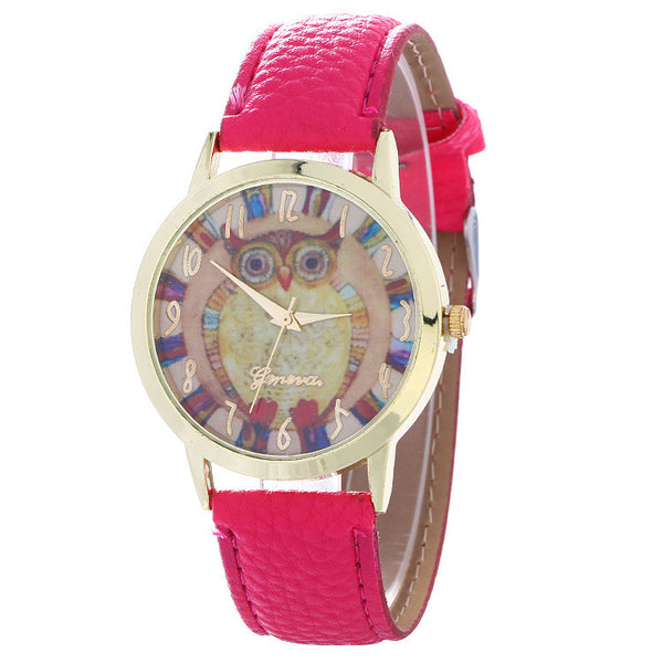 Colorful Owl Print Leather Watch