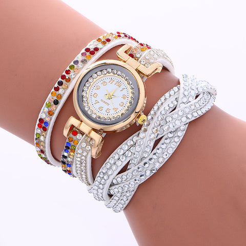 Double Color Twist Colorful Crystal Watch