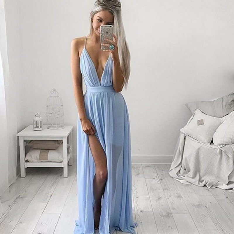 Pure Color Chiffon Spaghetti Strap Deep V-neck Split Long Dress