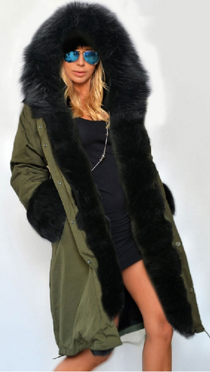 Zipper Hooded Faux Fur Cuff Long Cotton Coat - Meet Yours Fashion - 4