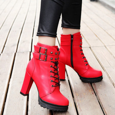Lace Up Hasp Straps Platform High Chunky Heel Short Martin British Boots