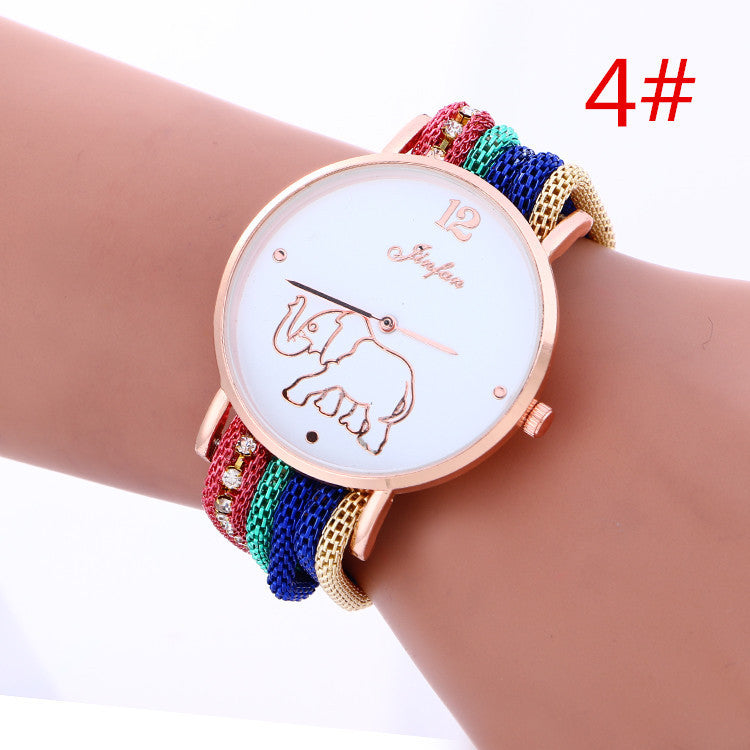 Bohemia Style Colorful Strap Elephant Watch