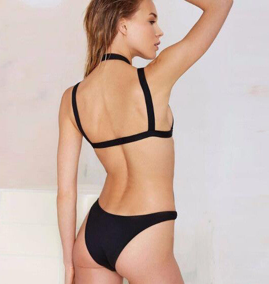 Halter Bandage Sexy Black One Piece Swimwear