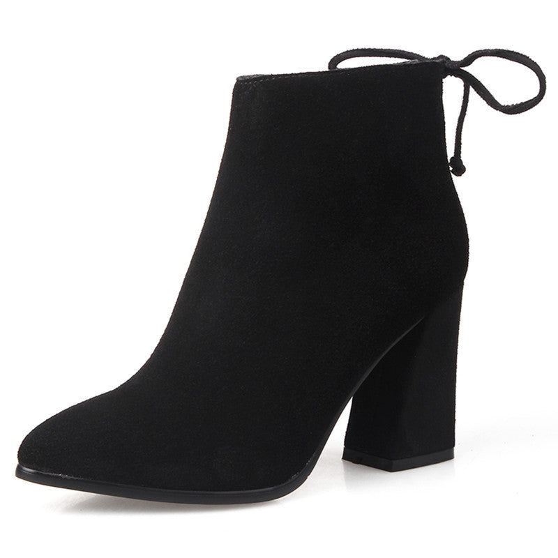 dd1e309159c ... Pointed Toe Back Lace Up High Chunky Heels Short Boots ...