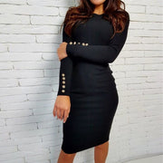 Hot Style Metal Button Pure Color Bodycon Long Dress