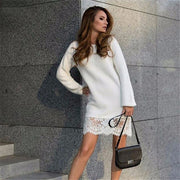 Fashion Lace Patchwork Long Sleeve Knee-length Dress