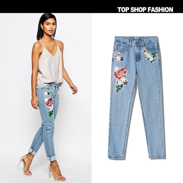 3D Embroidery Flowers Middle Waist Loose Pencil Jeans