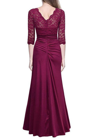 Vintage Elegant Lace Slim Wedding Long Dress