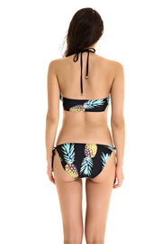 Pineapple Print Black Halter Two Pieces Swimwear Bikini