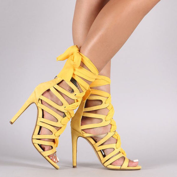 Candy Color Open Toe Ankle Wraps Stiletto High Heels Sandals