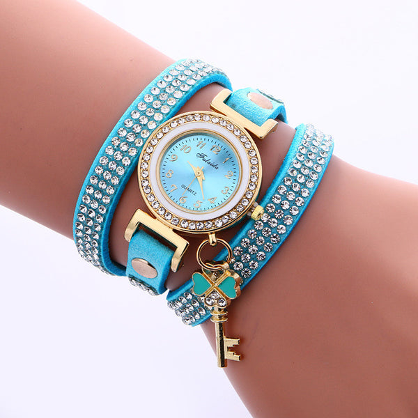 Crystal Strap Key Pendant Watch