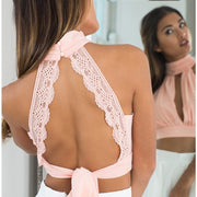 Lace Wraps Halter Backless High Neck Crop Top