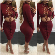 Fashion Sexy Lace Up Hollow Out Bodycon Short Dress